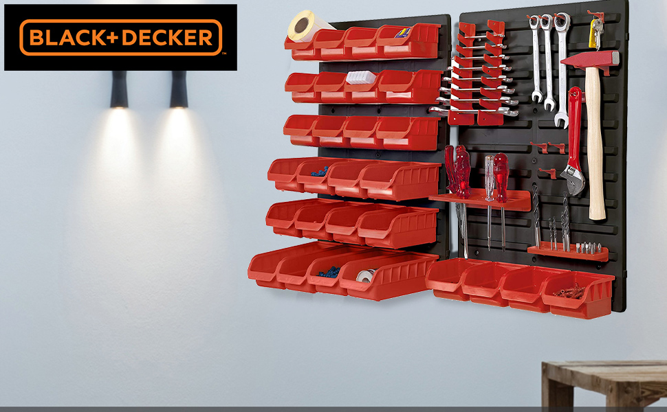BLACK+DECKER BDST73832-8 Wall Panel Set with Bins, Racks and Holders (43-Pieces), Tools not Included