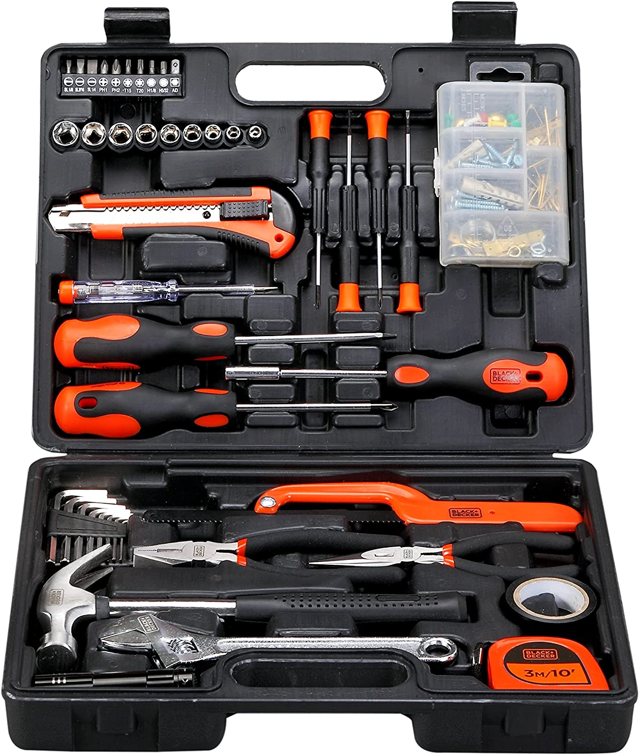 Black+Decker 126 Pcs Hand Tool Kit for Home DIY & Professional Use, BMT126C