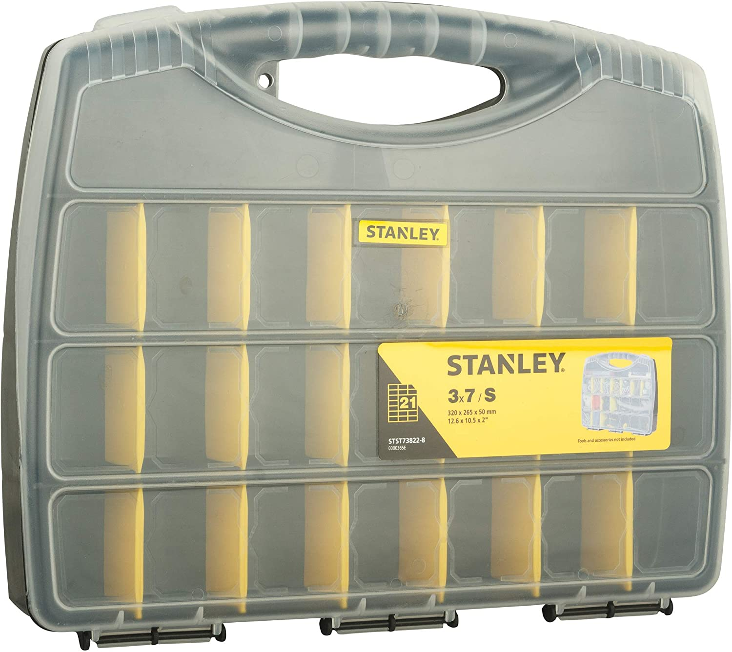 STANLEY STST73822-8, Polycarbonate Small Organizer with 21 Separator Slots and Transparent Lid
